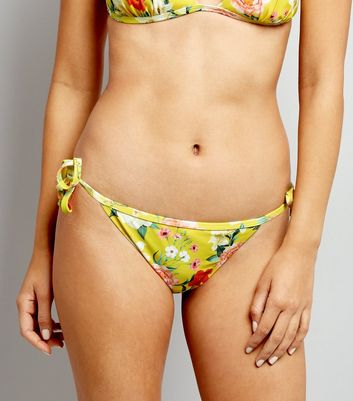 Yellow Floral Print Tie Side Bikini Bottoms