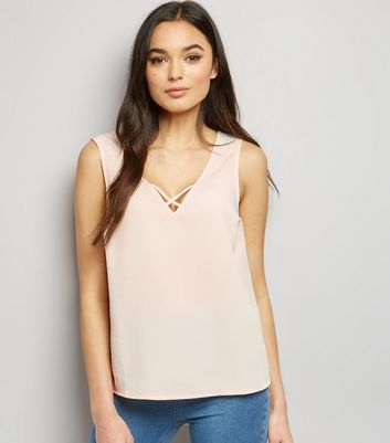Shell Pink Cross Strap Front Sleeveless Top