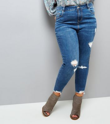Curves Blue Ripped Skinny Jenna Jeans