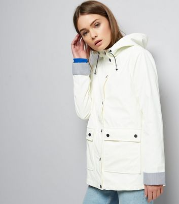 White Button Trim Stripe Hem Anorak