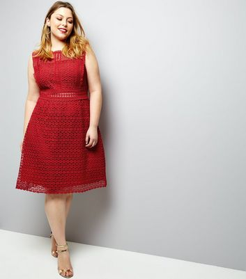Curves Red Premium Lace Sleeveless Skater Dress