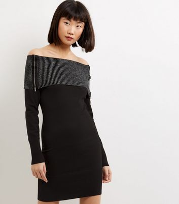 Apricot Black Layered Zip Trim Bardot Neck Dress