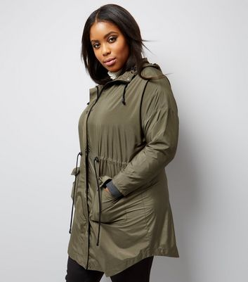 Curves Khaki Hooded Longline Jacket