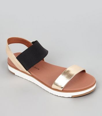 Teens Gold Elasticated Strap Sandals