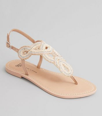 Teens Pink Embellished Bead Toe Post Sandals