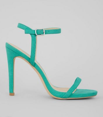 Green Suedette Ankle Strap Heeled Sandals