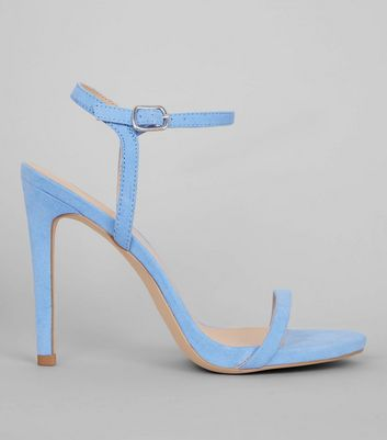Pale Blue Suedette Ankle Strap Heeled Sandals