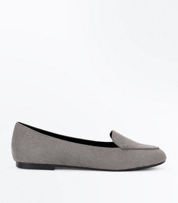 Grey Suedette Stitch Detail Loafers