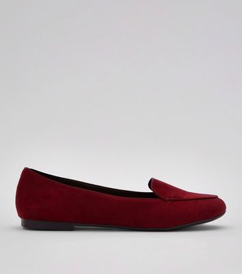 Burgundy Suedette Stitch Detail Loafers