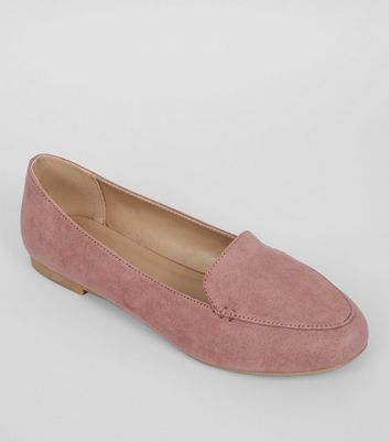 Pink Suedette Stitch Detail Loafers