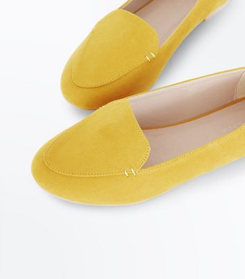 New Look - Yellow Suedette Stitch Detail Loafers - 4