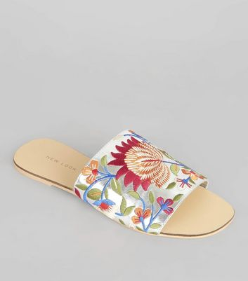 Silver Floral Embroidered Mules