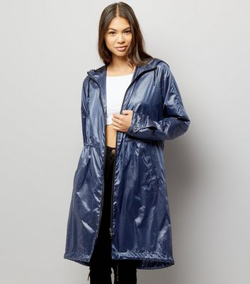 Blue Metallic Lightweight Parka