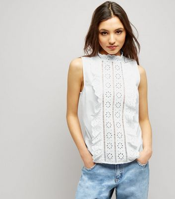 White Cut Out Frill Trim Sleeveless Top