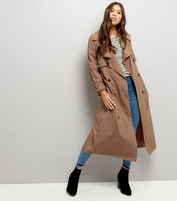 Brown Button Front Belted Trench Coat