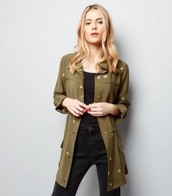 Khaki Bee Embroidered Utility Jacket