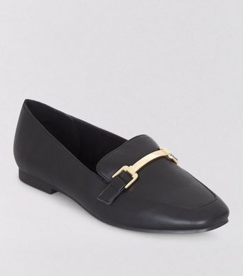 Wide Fit Black Metal Bar Loafers