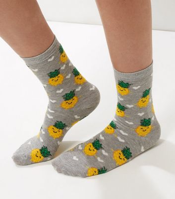 Grey Pineapple and Heart Print Socks