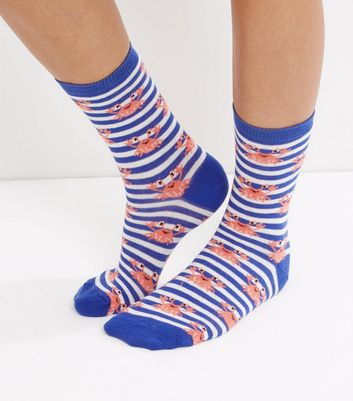 Blue Crab and Stripe Print Socks