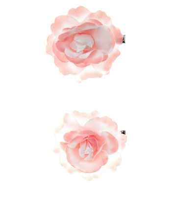 2 Pack Cream Ombre Rose Corsage Hair Clips