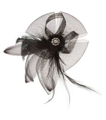 Black Net Feather Fascinator Hair Clip