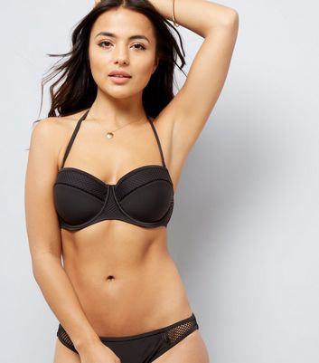 Black Mesh Trim Sporty Underwired Bikini Top