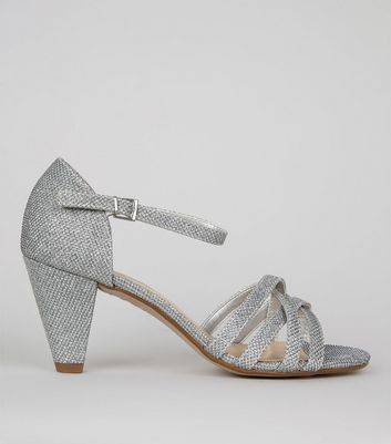 Teens Silver Textured Strappy Cone Heeled Sandals