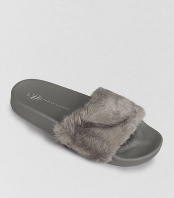 Teens Grey Faux Fur Sliders