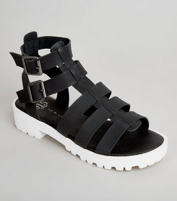 Teens Black Contrast Sole Gladiator Sandals