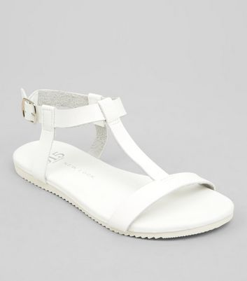 Teens White T Bar Sandals