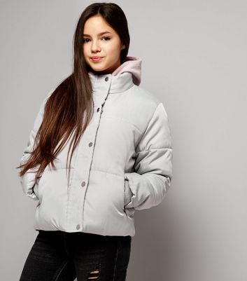 Teens Grey Padded Puffer Jacket