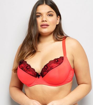 Curves Red Mesh And Lace Trim Bra