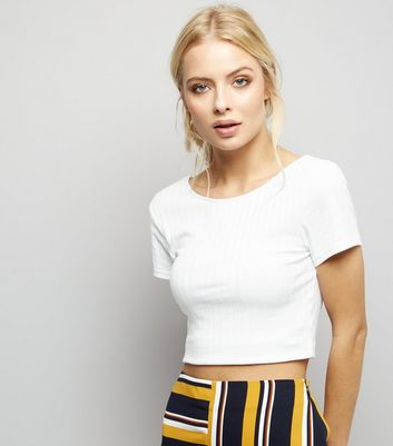 White Ribbed Short Sleeve Scoop Neck Crop Top