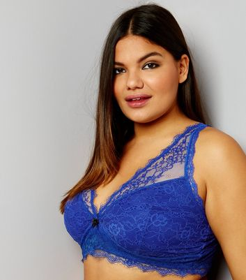 Curves Bright Blue Lace Longline Bra