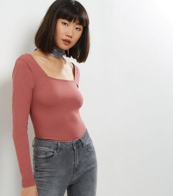 Deep Pink Square Neck Long Sleeve Top