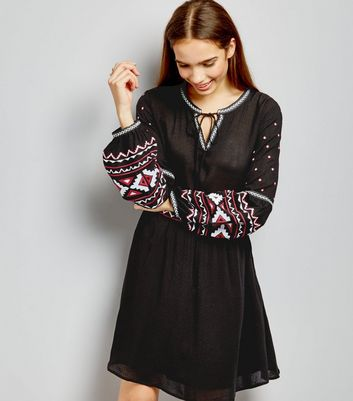 Black Embroidered Long Sleeve Dress