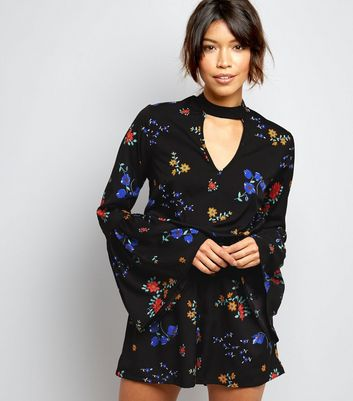 Black Floral Print Choker Neck Playsuit