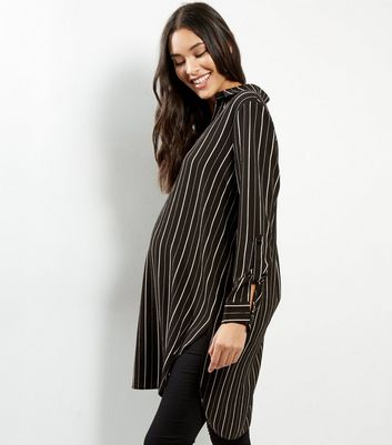 Maternity Black Stripe Print Longline Shirt