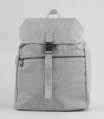 Pale Grey Buckle Front Backpack