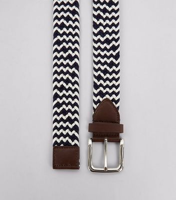 Navy Zig Zag Pattern Elasticated Belt
