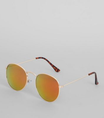 Gold Round Tinted Sunglasses
