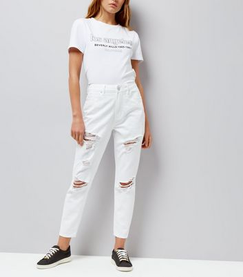White Ripped Tori Mom Jeans