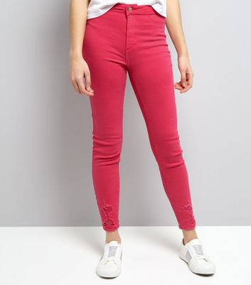 Bright Pink Ripped High Waist Skinny Hallie Jeans