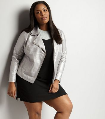 Curves Silver Metallic Biker Jacket