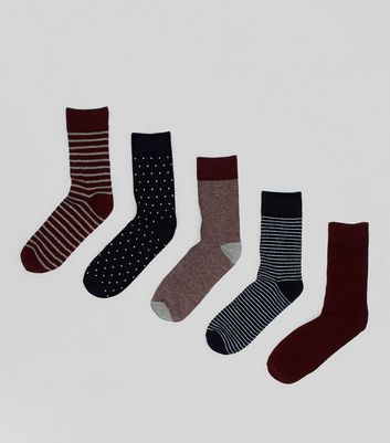 5 Pack Burgundy and Navy Spot and Stripe Socks