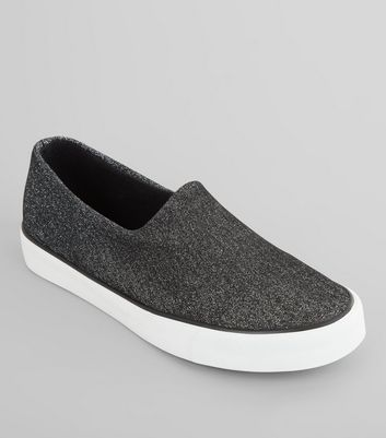 Black Shimmer Slip On Plimsolls