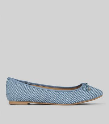 Blue Stripe Ballet Pumps