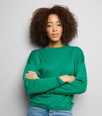 Green Long Sleeve Drawstring Hem Sweater