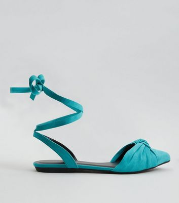 Turquoise Knot Front Tie Up Sandals