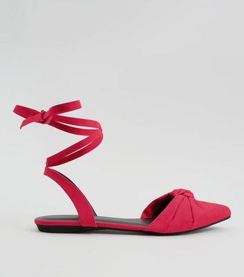 Pink Knot Front Tie Up Sandals